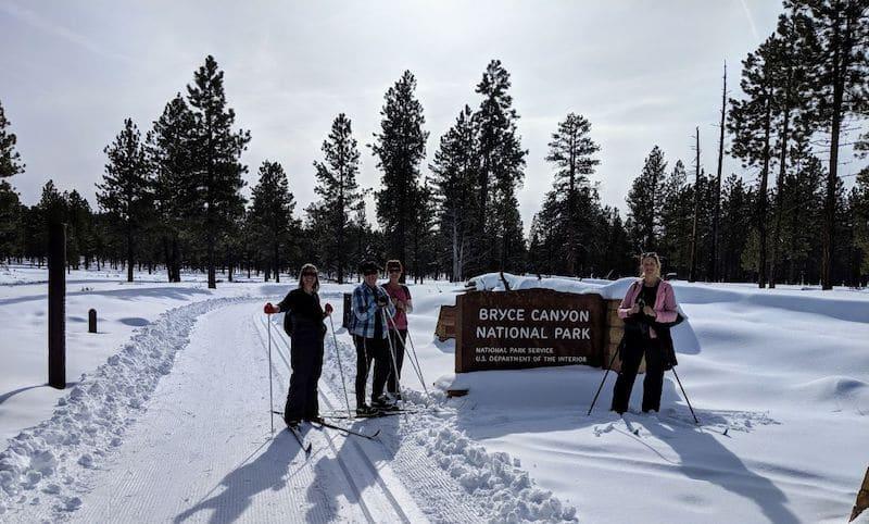 Girls cross country ski Bryce canyon