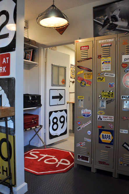 Vacation rental property decorated with vintage traffic and garage signs in Kanab Utah
