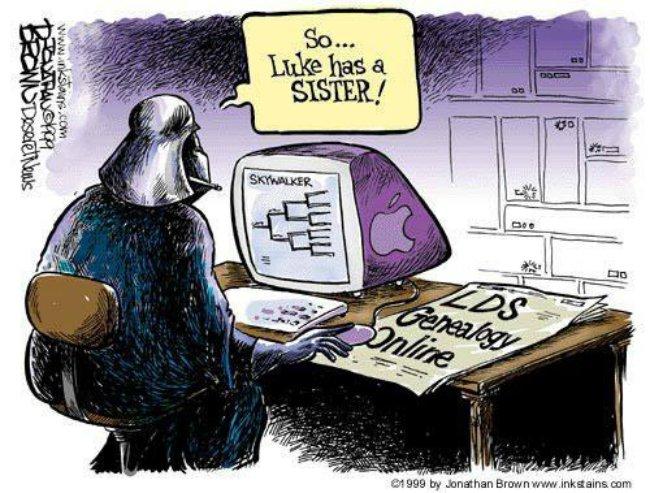cartoon darth vader looking at genology on computer