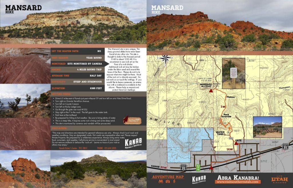 Mansard Hiking Trail Map Kanab Utah